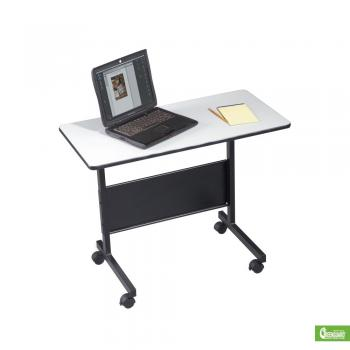 A compact desk for laptop computer with a black base and light gray frame are displayed.