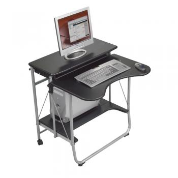 A black compact computer desk is displayed holding a personal computer.