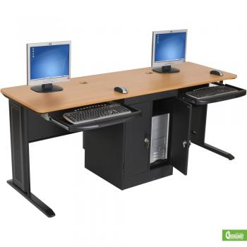 A two-person computer workstation is displayed with a wood laminate top.