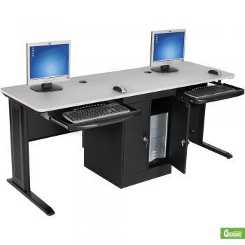 A two-person computer workstation is displayed with a grey top.