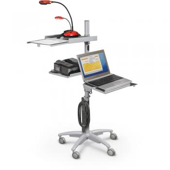 AV projector cart with a laptop and projector is displayed.