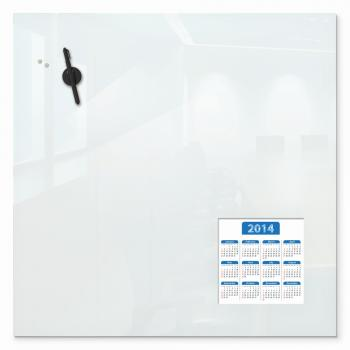 A magnetic glass whiteboard is displayed. in an office.