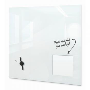 A magnetic glass whiteboard is displayed in a classroom.