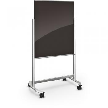 A double sided glass blackboard markerboard easel is displayed in an office.