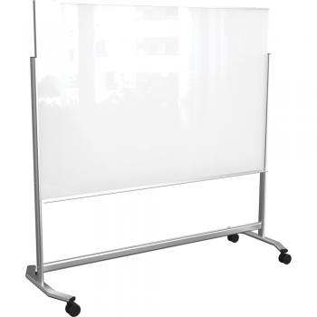 A rolling glass dry erase board is displayed.