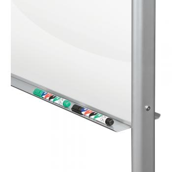 The rolling glass dry erase board features a marker tray.