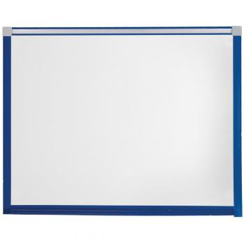 The large magnetic dry erase whiteboard has a heavy duty PVC frame that has rounded edges for increase safety and is available in several colors.