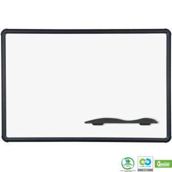 A magnetic porcelain covered steel dry erase board is shown written on in black marker. It is available in 5 different sizes.