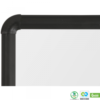 The rounded corners of the magnetic dry erase ceramic whiteboard are ideal for safety in the classroom or the office.