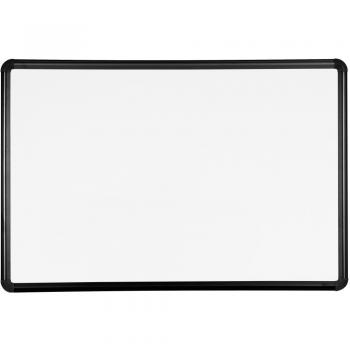 Shown is a porcelain coated steel magnetic dry erase whiteboard with black trim.
