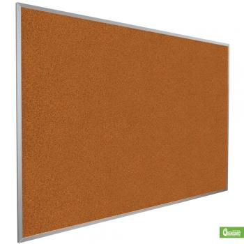 This is a red aluminum framed cork board for wall mounting.