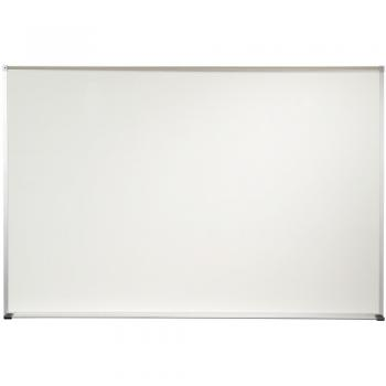 A blank dry erase white board is seen in its aluminum frame. Constructed of porcelain covered steel, this board is guaranteed to last 50 years.