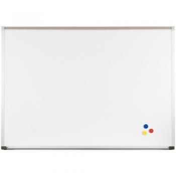 Magnetic dry erase whiteboard with tackable map rail and full length accessory tray. The whiteboard is wall mounted, comes with safety end caps to cover sharp edges and doubles as a magnetic bulletin board.