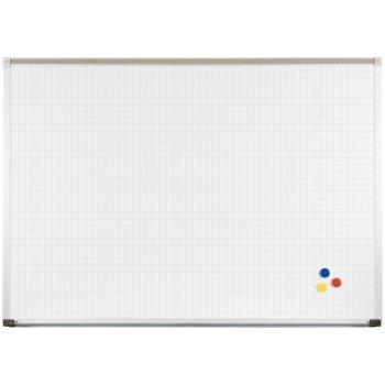 Displayed is a PVC coated steel magnetic dry erase board with red, blue and yellow magnets stuck to the lower right hand corner of the grid.