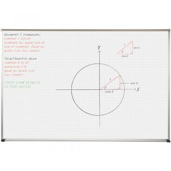 A graph is shown using the whiteboard grid on the surface of the magnetic dry erase marker board as a guide.