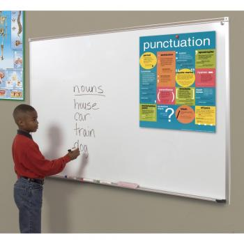 A child stands in front of the wall mounted white magnetic dry erase board. Displayed on the dry erase whiteboard is a map held in place with magnets and a full length accessory tray.