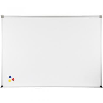 A blank white magnetic marker board is shown with an aluminum frame and safety covered corners. Three magnets sit in the lower left hand corner.