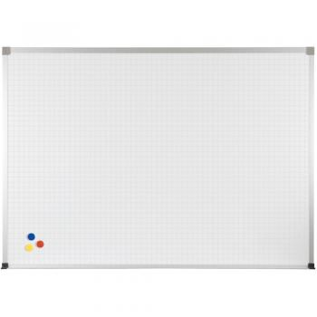 Displayed is a PVC coated steel magnetic wall mounted dry erase whiteboard with red, blue and yellow magnets on the lower right corner or the whiteboard, which is embedded with a silver grid.