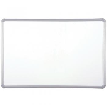 An aluminum framed dry erase white board with injection molded rounded corners.