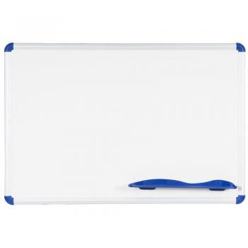 The magnetic dry erase whiteboard is shown. It is constructed of porcelain steel and doubles as a magnetic bulletin board.