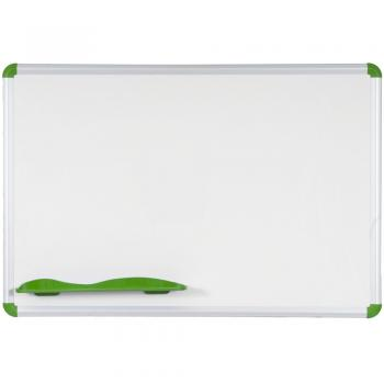 The magnetic dry erase white board is shown in red. It comes in many sizes to suit your needs.