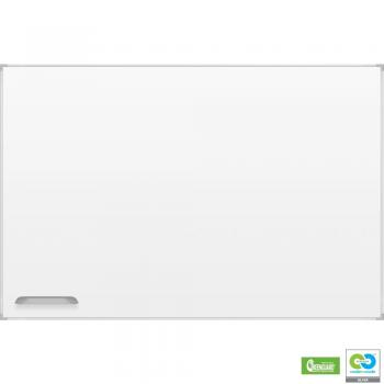 A magnetic dry erase white board in porcelain steel is shown with a silver aluminum frame.