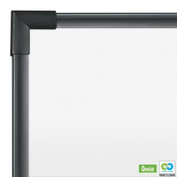 The magnetic dry erase whiteboard in porcelain steel is shown in close up of the black aluminum frame.