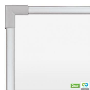The magnetic dry erase whiteboard is displayed with a close up of the silver aluminum frame.