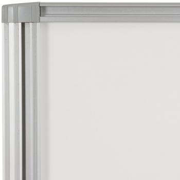 The aluminum trim is sturdy on the small magnetic dry erase whiteboard.