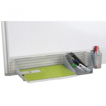 The small magnetic dry erase white board has an accessory tray.