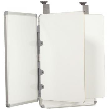 A view of a hanging cubicle dry erase board with 7 writing surfaces.