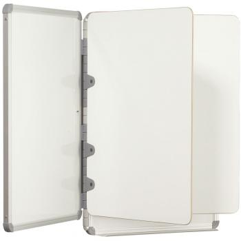 A cubicle dry erase board with two interior panels is shown.