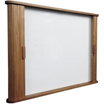 The sliding doors on the dry erase white board cabinet are an elegant solution for boardrooms and classrooms alike.