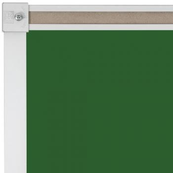 A green framed magnetic chalkboard for a school or classroom wall.
