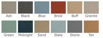 A view of the swatches of the colors that the cork bulletin board is available in.