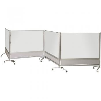 Several porcelain steel magnetic dry erase whiteboards are shown attached together as a room divider