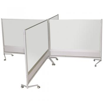 Different sized free standing magnetic dry erase whiteboards can be fitted together to separate students or display a lot of information in a unique way.