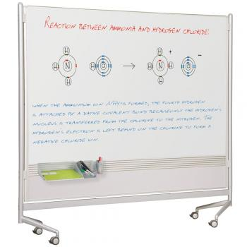 The aluminum frame on the magnetic reversible dry erase whiteboard is sturdy and moves freely around the classroom or into storage.