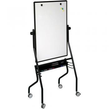 A rolling reversible dry erase whiteboard features a full length accessory tray and flip book rings. Multiple units nest together for storage.