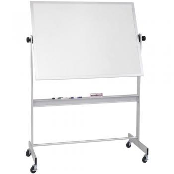The magnetic dry erase whiteboard has locking casters and an accessory tray that runs the length of the frame, which comes in many sizes.