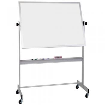 A free standing aluminum framed white board.