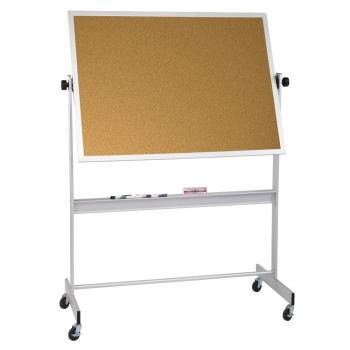 A free standing aluminum framed corkboard whiteboard combo is displayed.