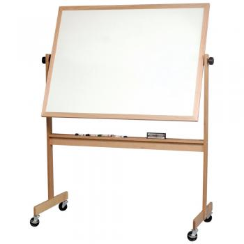 A free standing wooden framed whiteboard on casters.