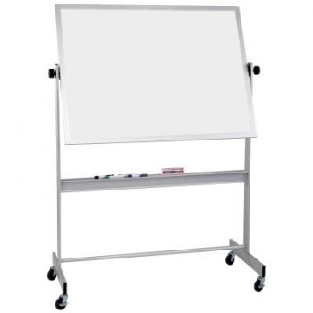 A free standing whiteboard in an aluminum frame is shown.