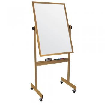 A small wooden framed free standing white board is displayed.