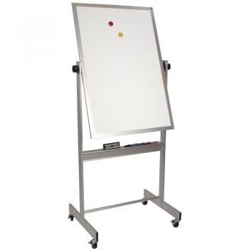 A small reversible magnetic dry erase whiteboard on casters is shown.