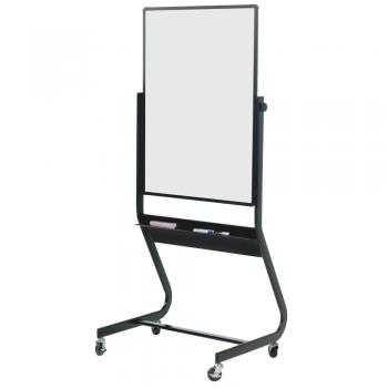The whiteboard sits on a sturdy black aluminum frame.