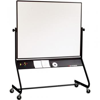 A large, black trim, rollable whiteboard displayed.