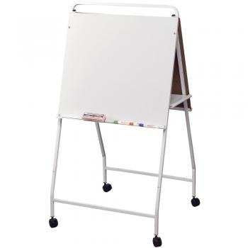 This dry erase white board on easel has a full length accessory tray on each side and has locking caster wheels for maximum portability.