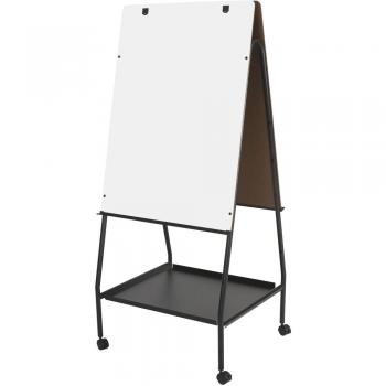 Displayed is a reversible melamine presentation whiteboard  with a full length accessory tray and flip chart hooks.